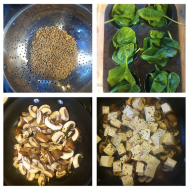 lentils + spinach + mushrooms + tofu