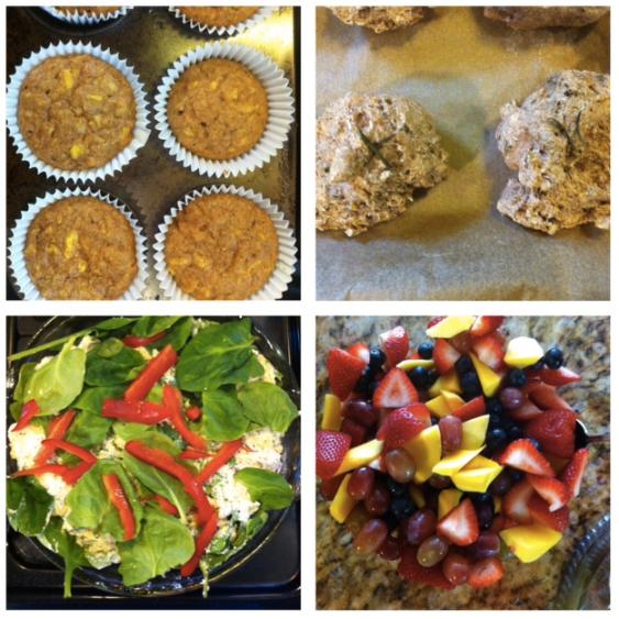 "sunshine muffins, apple biscuits, ""quiche"" & fruit"