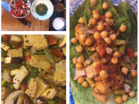spiced chickpea and tofu vegetable lettuce wrap (with salsa)