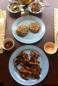 """fried"" black bean burgers & sweet potato frittes"