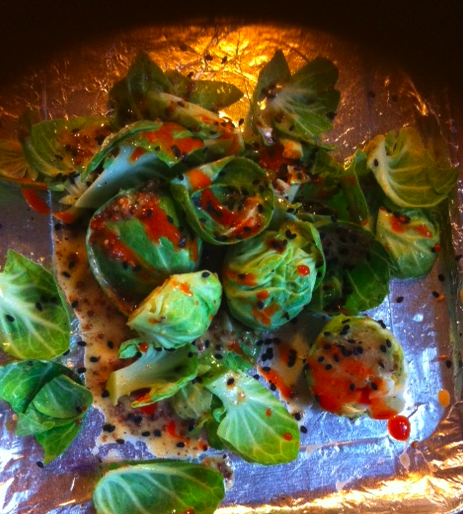 Brussels sprouts, roasted in the toaster oven